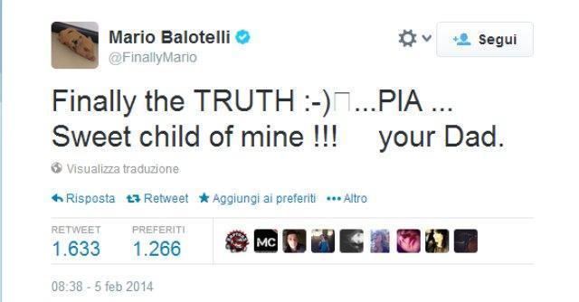 """Mario Balotelli, su Twitter riconosce Pia: """"Finalmente la verità. Dolce bimba mia"""""""