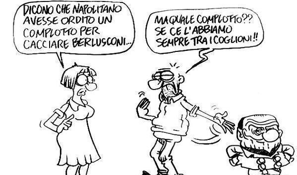 Servizio Pubblico, le vignette di Vauro: dal complotto contro B. a Grillo