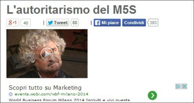 """Blog Grillo vs Carlassare: """"Autoritarismo M5S? Affanculo, ci avete rotto i coglioni"""""""