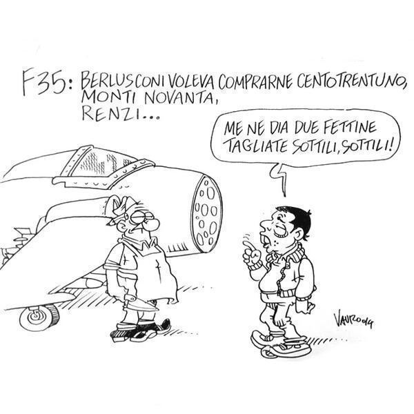Servizio Pubblico, le vignette di Vauro: da Berlusconi all'incontro Renzi-Merkel