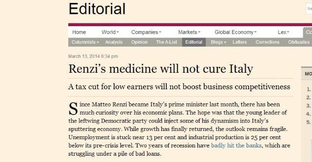 """Il Financial Times boccia il piano del governo Renzi: """"Non è la cura per l'Italia"""""""