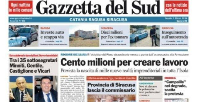 Editoria, la Gazzetta del Sud chiude le tre edizioni di Catania, Siracusa e Ragusa