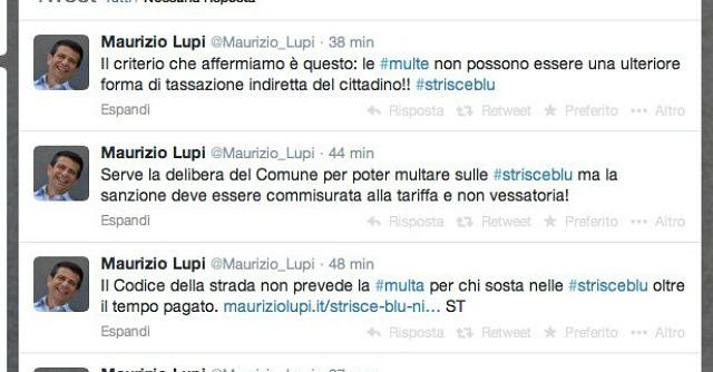 Maurizio Lupi su Twitter - Strisce blu