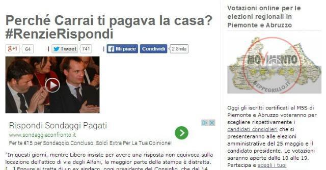 "Renzi, casa affittata da imprenditore amico. Grillo: ""#RenzieRispondi"""