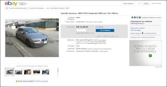 Auto blu: vendute all'asta su eBay le prime sei. Incassati 57mila euro