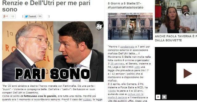 """Beppe Grillo, nuovo attacco dal suo blog: """"Renzie e Dell'Utri per me pari sono"""""""
