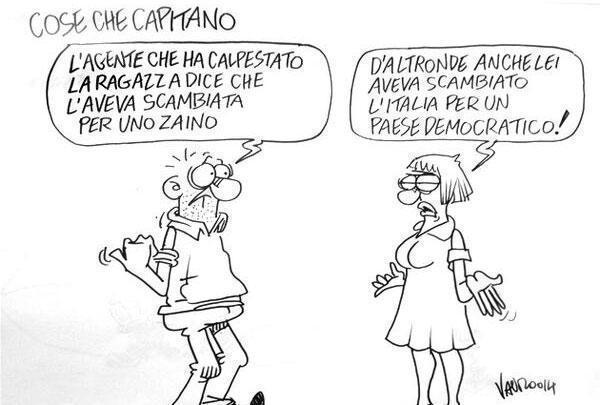 Servizio Pubblico, le vignette di Vauro: dagli scontri a Roma a B. ai servizi sociali