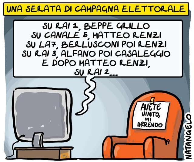 La vignetta del giorno: Una tranquilla serata di campagna elettorale…