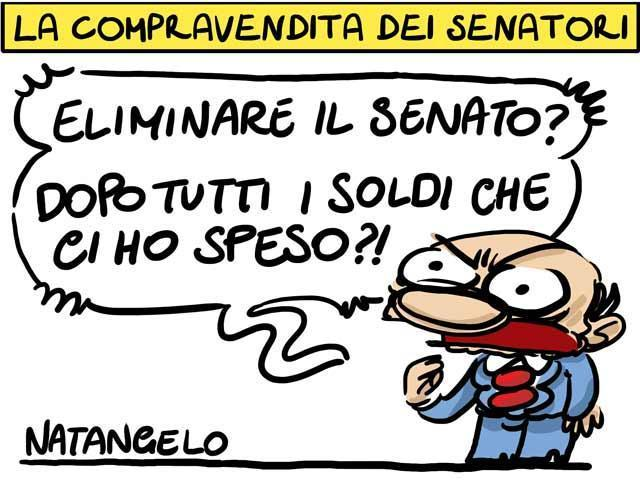 La vignetta del giorno: Il mercato dei senatori