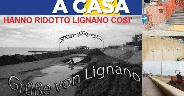 """M5S Friuli: """"Spiaggia di Lignano come Auschwitz"""". Polemiche per il fotomontaggio"""