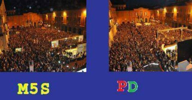 """Reggio Emilia, Grillo: """"Stessa piazza piena. Per Resto Carlino 10mila Pd, 5mila M5S"""""""