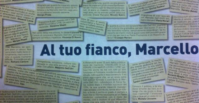 """Dell'Utri, sul Corriere un'intera pagina di solidarietà. Redazione: """"Inaccettabile"""""""