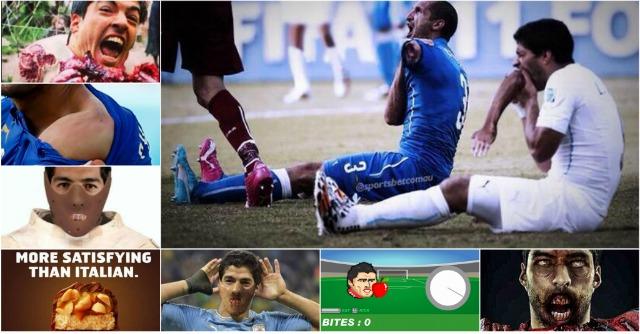 Italia-Uruguay: 'il morso mondiale di Suarez' le migliori parodie su Twitter