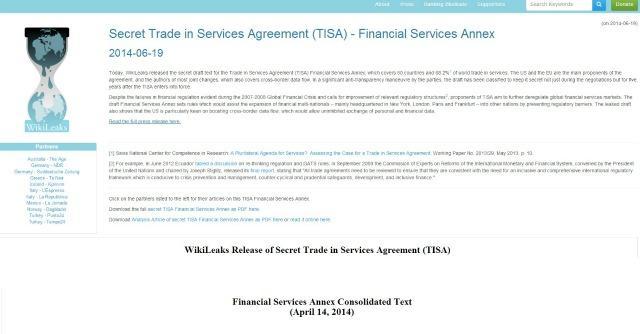 """f7ae53f96d Wikileaks: """"Ecco il trattato segreto per la liberalizzazione selvaggia  della finanza"""""""