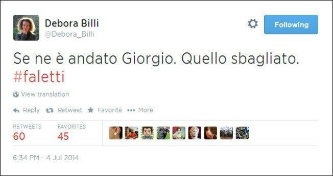 """Faletti, la responsabile web M5S: """"E' morto Giorgio, quello sbagliato"""". Poi le scuse"""