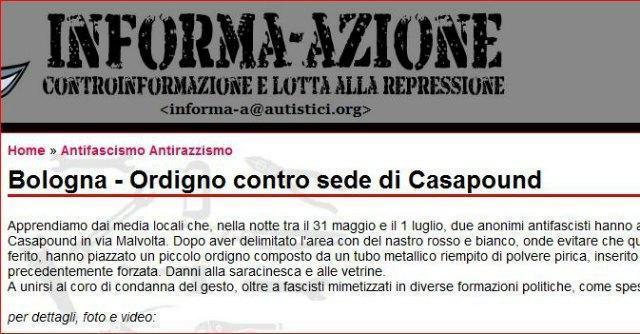 Bologna, rivendicazione anarchica per ordigno davanti a Casapound. Attacco all'Anpi