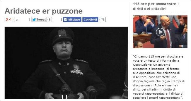 """Grillo: """"Mussolini ebbe più pudore. E' colpo di Stato"""". Renzi: """"E' colpo di sole"""""""