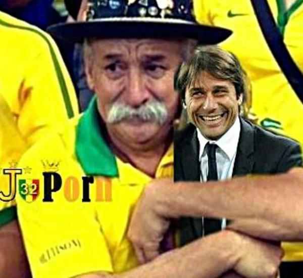 Il tifoso brasiliano abbraccia Conte