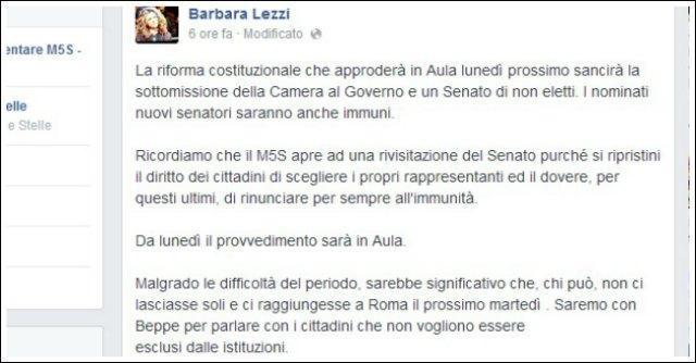 M5s, sit-in martedì a Roma contro il Senato dei nominati. Senza Grillo