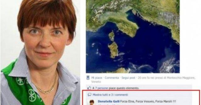 """Donatella Galli, leghista a processo. Su Facebook: """"Forza Etna, forza Vesuvio"""""""