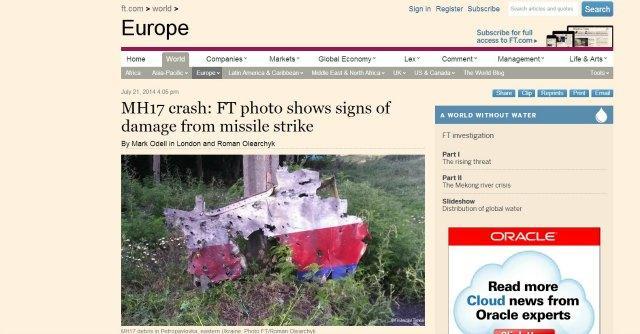 "Malaysia Airlines: recuperati 272 corpi Mosca: ""No missile, c'era caccia ucraino"""