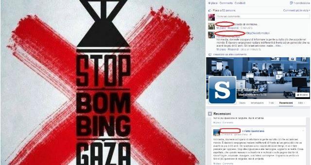 #StopBombingGaza: protesta online su pagine Facebook de Il Fatto, La Stampa e Tgcom24, ordine partito su WhatsApp