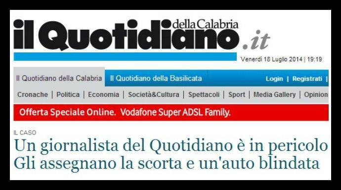 'Ndrangheta, rischio attentato contro il giornalista del Quotidiano del Sud