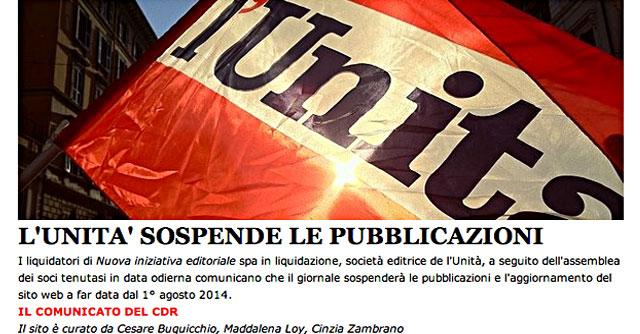 """L'Unità, stop a pubblicazioni dal primo agosto: """"Giorno di lutto per la democrazia"""""""