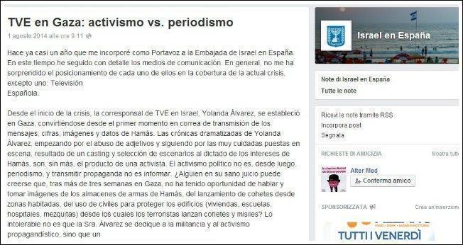 """Gaza, ambasciata Israele contro giornalista spagnola: """"Fa solo propaganda per Hamas"""""""
