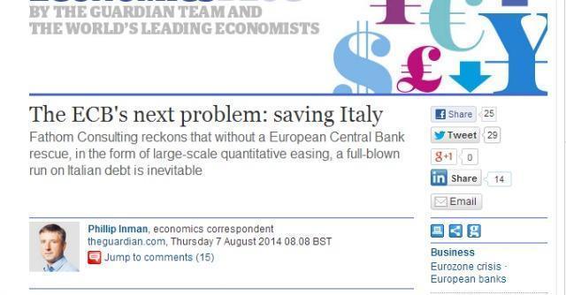 """Governo Renzi, Guardian: """"Il prossimo problema della Bce è salvare l'Italia"""""""