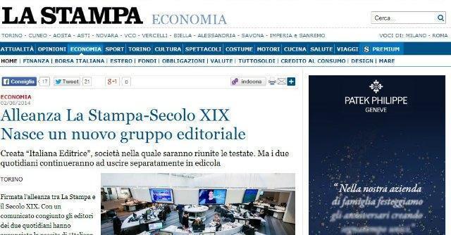 Editoria, La Stampa e il Secolo XIX si uniscono. Nasce Italiana Editrice