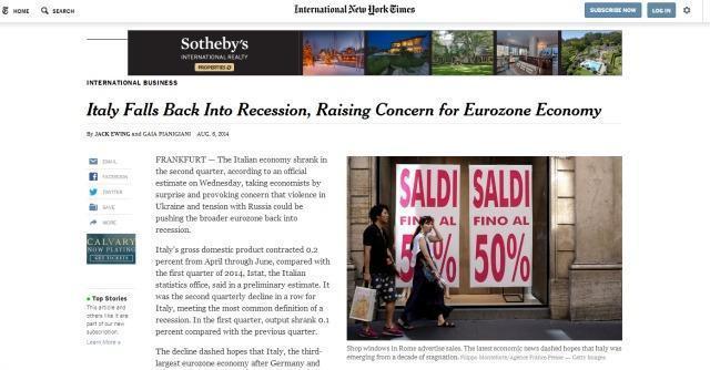 """Crescita, per il Wall Street Journal l'Italia """"non è mai uscita dalla recessione"""""""