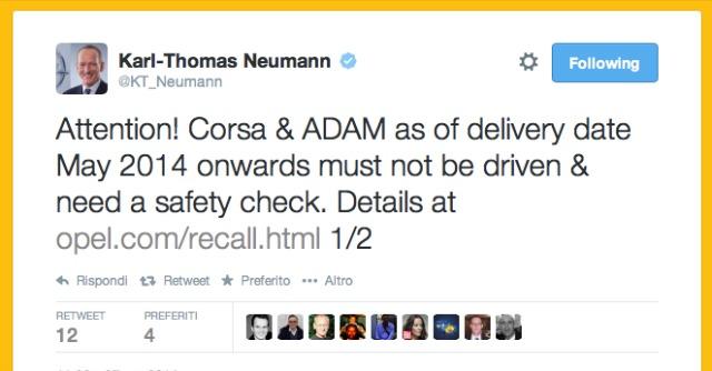 Opel Neumann richiamo su Twitter
