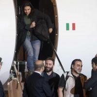 Aeroporto Militare Ciampino - arrivo giornalisti liberati Siria