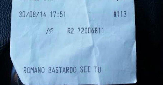 """Caserta, offese sullo scontrino della pasticceria: """"Romano bastardo sei tu"""""""