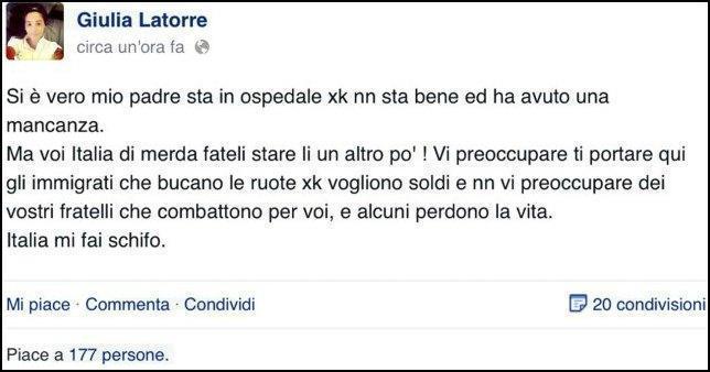 "Marò, figlia di Latorre su Facebook: ""Italia di merda, mi fai schifo"""