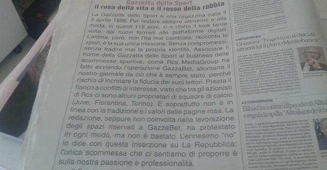 "Scommesse, cdr Gazzetta Sport compra pagina su Repubblica: ""No GazzaBet"""