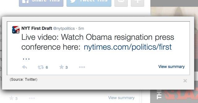 """Usa, il Nyt twitta sulle """"dimissioni di Obama"""". Ma erano quelle di Holder"""