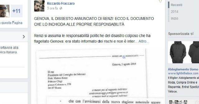 """Alluvione Genova, Grillo: """"Renzi sapeva e nessuno scrive"""". Ma è una ripresa dal Fatto"""