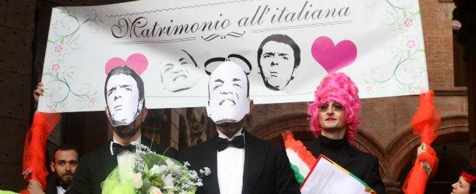 """Nozze gay, a Bologna le finte nozze tra Renzi e Alfano: """"Sono una coppia di fatto"""""""