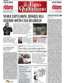 Copertina Il Fatto Quotidiano - Nuove espulsioni, rivolta M5S: assedio sotto casa di Grillo