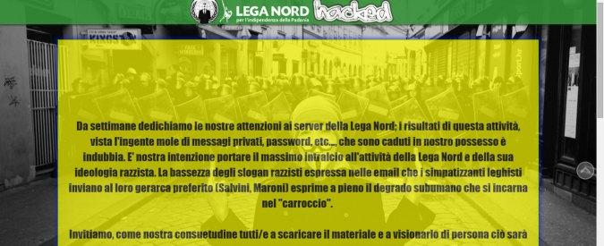 """Anonymous attacca il sito della Lega Nord: """"Intralciamo ideologia razzista"""""""