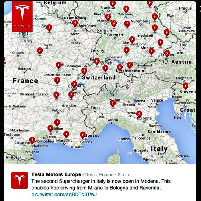 Supercharger Tesla, inaugurato il secondo punto di ricarica rapida in Italia