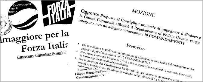 """Casalmaggiore, FI: """"I 10 comandamenti nel regolamento della Polizia municipale"""""""