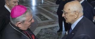 """Napolitano scrive al Papa: """"Governi agiscano contro corruzione e criminalità"""""""