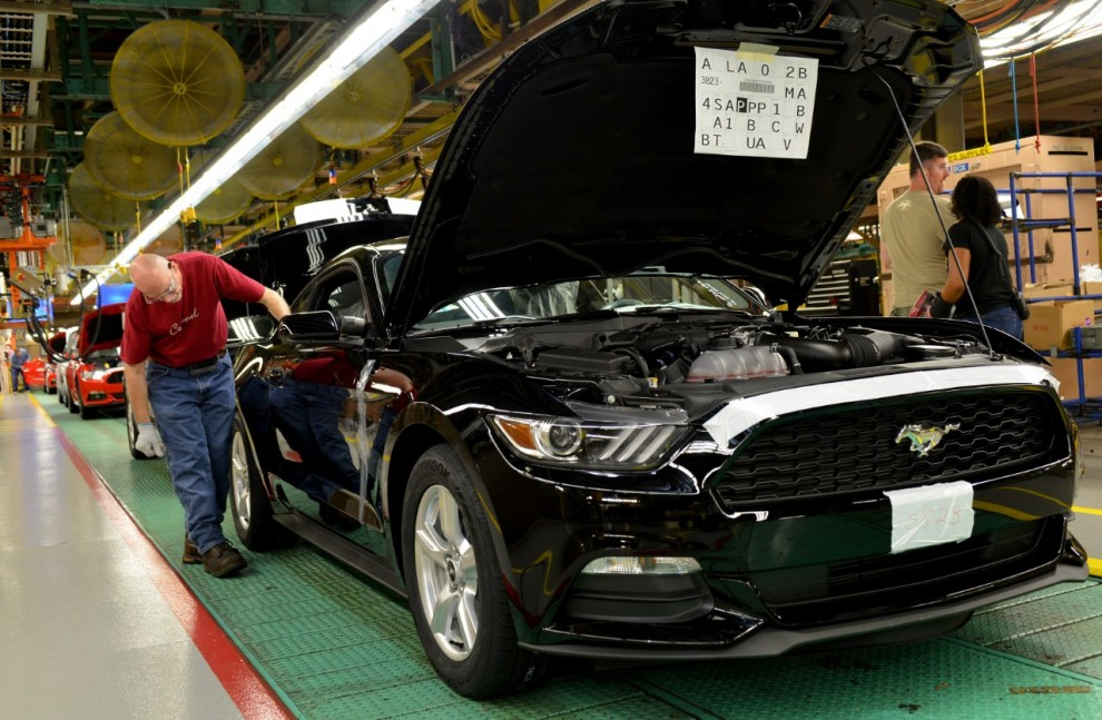 The all-new Ford Mustang is built at Ford's Flat Rock Assembly plant in Michigan, US