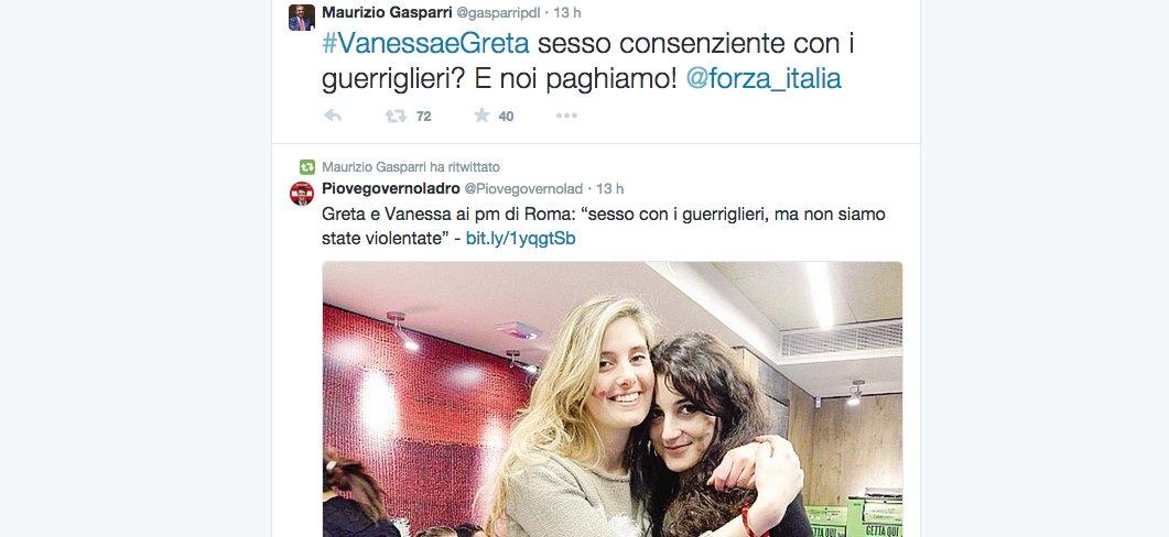 """Greta e Vanessa, Gasparri su Twitter: """"Sesso consenziente con guerriglieri?"""""""