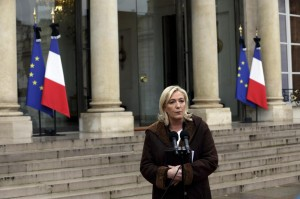 File photo of France's far-right National Front political party leader Marine Le Pen as she speaks to journalists after a meeting at the Elysee Palace in Paris