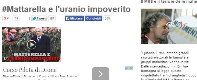 Presidente Repubblica, blog Beppe Grillo: 'Mattarella negò uso uranio impoverito'