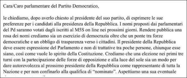 """Elezione Quirinale, Grillo e Casaleggio scrivono al Pd: """"Fateci i nomi"""""""